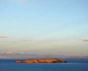 Lake Titicaca: Island of the Moon, Apu Ancohuma in background. Photo J. E. Williams, 2008.