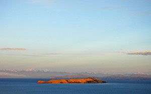 Lake Titicaca: Island of the Moon, Apu Ancohuma in background. Photo J. E. Williams, 2008.